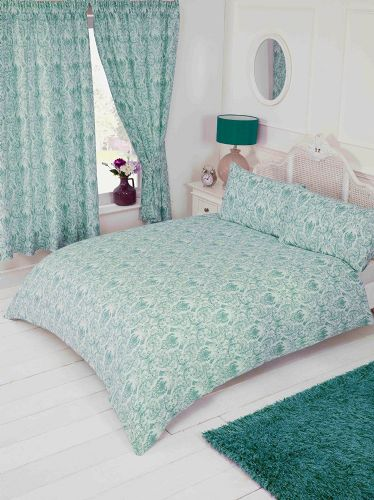 Duck Egg Teal Floral Paisley Damask Design Bedding Duvet Quilt Cover Set